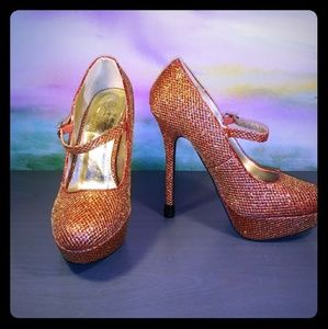 Shoes - Size 8 Ruby and Gold Platform Heels